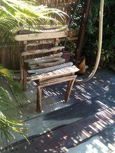 Driftwood chair #Chair, #Driftwood, #Garden