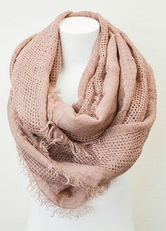Rose Open Grid Infinity Scarf