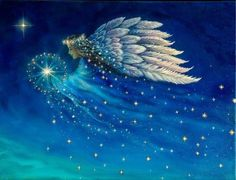 "Celestial light of angels (Artwork: ""Star Angel"" by Cathy McClelland) Beautiful! Angels Touch, I Believe In Angels, Angel Pictures, Angel Images, Angels Among Us, Angels In Heaven, Heavenly Angels, Guardian Angels, Art Graphique"