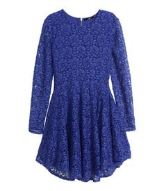 Long-sleeved dress in lace with a circle skirt and visible back zip. Royal blue. | Party in H&M