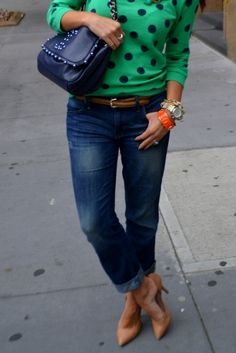 Two of my favorite things - dark green and polka dots in one sweater!