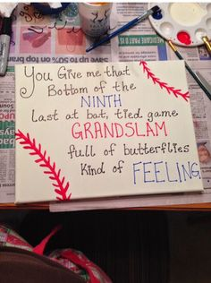 23 DIY Romantic Gifts For Him You Can Make - Feed Inspiration - Baseball Canvas Anniversary Gift - Baseball Boyfriend Gifts, Diy Gifts For Boyfriend, Baseball Mom, Boyfriend Ideas, Baseball Tickets, Baseball Field, Boyfriend Canvas, Baseball Couples, Baseball Videos