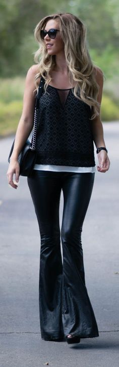 Black Flare Leather Pants Fall  Inspo by Kier Couture