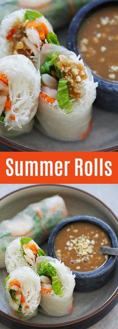 Summer Rolls – healthy and delicious Vietnamese Summer Rolls recipe made with Annie Chun's Maifun rice noodles, lettuce, carrots, shrimp with hoisin-peanut sauce. So good | rasamalaysia.com