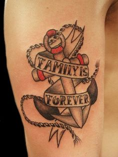 Thanks to the closeness and importance of the people we call family, many choose to get family tattoos. Even a family crest tattoo brings them together. Girl Anchor Tattoos, Family Anchor Tattoos, Family Crest Tattoo, Family Tattoos, Tattoos Arm Mann, Arm Tattoos For Guys, Leg Tattoos, Girl Tattoos, Tatoos