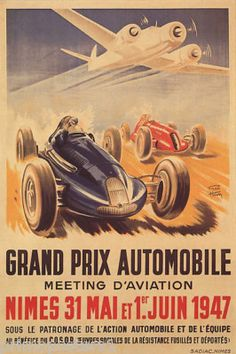 1947 RACING CAR GRAND PRIX AIRPLANE FRENCH REPRO POSTER; big 20x30 on paper is $24