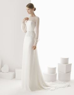 Long beaded embroidered satin crepe wedding dress. Rosa Clará 2014 Collection.