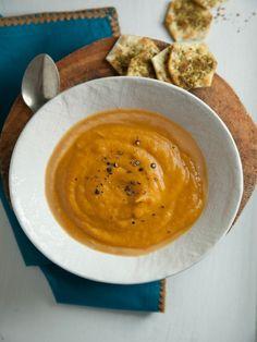 Sweet Potato and Coconut Soup with Za'atar GF Crackers // Joy of Kosher