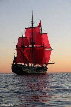 Sailing Vessel with Red Sails Poder Naval, Moby Dick, Bateau Pirate, Old Sailing Ships, Wooden Ship, Pirate Life, Yacht Boat, Sail Away, Set Sail