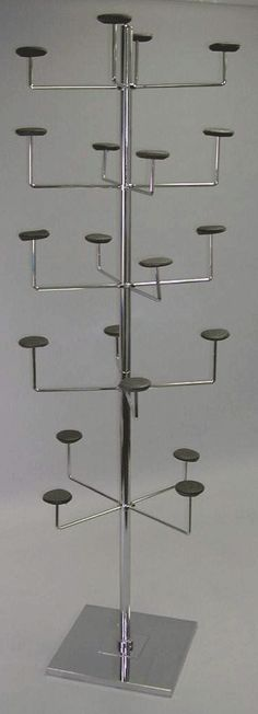 hat display 5 tier single upright x square base includes foam pads - 1 per box - Chrome, Tie and Retail Belt Racks: Achieve Display Craft Booth Displays, Hat Display, Display Ideas, Market Displays, Store Displays, Belt Rack, Hat Storage, Hat Stands, Craft Show Ideas