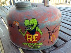 Vintage Eagle Gas Can Rat Fink Molotov Cocktail Inspired Hand Pinstriping and Hand lettering Hot Rod Art by VanePinstriping on Etsy