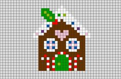 Gingerbread House Pixel Art - - A gingerbread house is a model house made of gingerbread. The usual material is crisp ginger biscuit made of gingerbread – the ginger nut. Mini Cross Stitch, Cross Stitch Cards, Beaded Cross Stitch, Cross Stitching, Cross Stitch Embroidery, Cross Stitch Patterns, Christmas Perler Beads, Christmas Cross, Pixel Art Noel