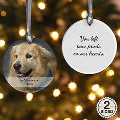 Personalized Pet Christmas Ornament - 2-Sided Pet Photo Memories - Ornament Gifts