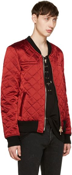 Balmain - Red Logo Patch Bomber Jacket