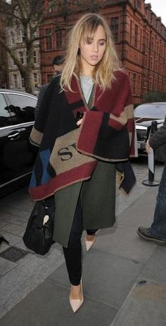 100 best dressed of 2014 - Suki Waterhouse in Burberry Prorsum monogram blanket scarf.