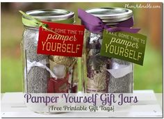 These Pamper Yourself spa gift jars are a great DIY holiday gift! http://www.rewards4mom.com/10-homemade-gift-ideas/