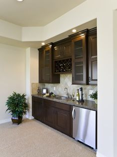 Wet Bar Design, Pictures, Remodel, Decor and Ideas; both glass front and wood front cabinets