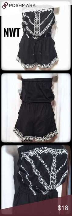 ♦️NWT Black Cream Romper Shorts♦️ Angie SZ L Beautiful shorts romper with embroidered details. The edges are a rough edge with classic feel. The shorts have pockets and the elastic used too and waistline add a comfortable flattering flare. This is brand new NWT and ready to wear! Angie Shorts