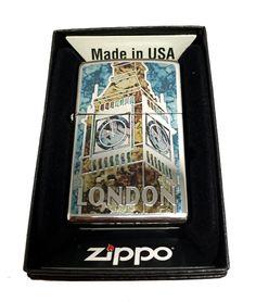 Zippo Custom Lighter - London Big Ben Fuzion Mosaic - Regular High Polished Chrome