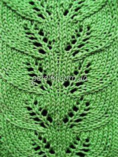 Узор симметричные листочки спицами. Схема