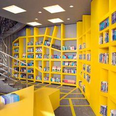 Unique bookcase design at the Vagabond Travel bookshop by Smansk design studio Interior Walls, Interior Design, Yellow Interior, Library Design, Bookstore Design, Library Wall, Dream Library, Floor Patterns, Retail Space