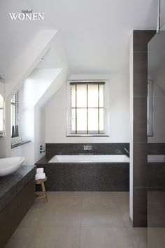 Clean lines. White and Dark combo. Traditional Bathroom, House, Bathroom Interior Design, Baths Interior, Home, House Interior, Bathroom, Bath Inspiration, Home And Living