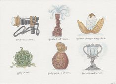 """""""Harry Potter Artifacts; Books 1-7,"""" ink and watercolor, 2013."""
