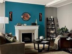 Living room color schemes for vintage house Turquoise Accent Walls, Blue Accent Walls, Living Room Turquoise, Teal Living Rooms, Accent Wall Colors, Accent Walls In Living Room, Teal Walls, Living Room Paint, Living Room Colors