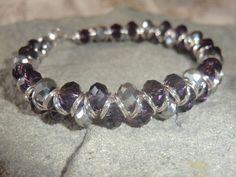 Purple and Silver Beaded Goddess Bracelet