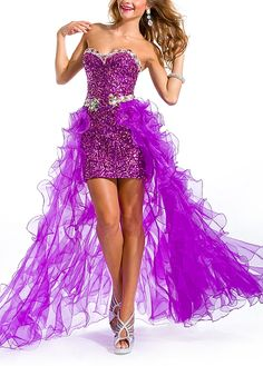 Breathtaking Sequin Lace & Organza A-line Sweetheart Neckline High Low Beaded Prom Dress