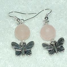 Rose Quartz and Butterfly Earrings - Gayle Dawn Boutique