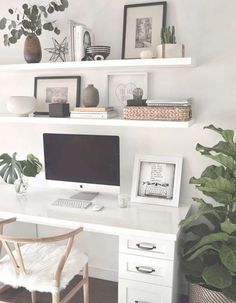 Dec 2018 - Clean Simple Minimal Home Office Space Study Room Decor, Room Ideas Bedroom, Home Decor Bedroom, Decor Room, Bedroom Apartment, Master Bedroom, Business Office Decor, Cute Office Decor, Office Setup