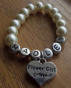 Name Bracelet with Flower Girl Charm by HoJoJewelry on Etsy, $9.98