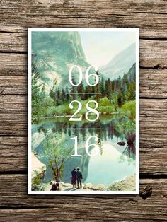 Featuring a soft, scenic image of Yosemite National Park and modern, bold typography, these vintage save the date postcards are perfect for your