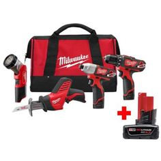 Milwaukee M18 18-Volt Lithium-Ion Cordless Combo Tool Kit (5-Tool) with (1) 3.0Ah and (1) 1.5Ah Battery, (1) Charger, (1) Tool Bag-2695-25CX - The Home Depot