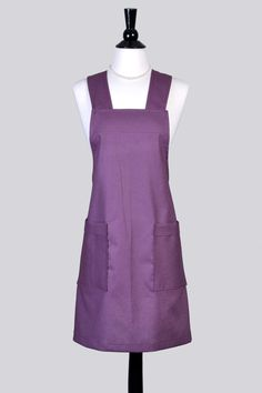 Japanese Linen Apron Crossover Vintage Style Pinafore Womens Retro Kitchen Apron in Plum Purple Linen with Pockets (DP) by TastyAprons on Etsy