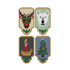 Christmas Pins by Sigrid Wynne-Evans Seed Bead Patterns, Peyote Patterns, Beading Patterns, Bead Lizard, Beaded Christmas Ornaments, Christmas Earrings, Christmas Jewelry, Safety Pin Crafts, Beaded Banners