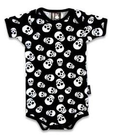 Six Bunnies Whole Lotta Skulls One Piece Romper Baby Black Goth Cool Polka Punk Cotton