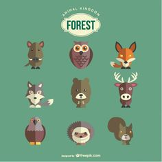Forest animals set | Free vector