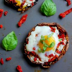 Portobello Baked Eggs with Goat Cheese and Sundried Tomatoes