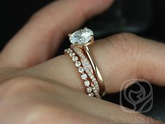 This wedding set is perfect for those who are classics! This clean design is both feminine and practical. It can sit flush against any band! All stones used are only premium cut, fairly traded, and/or conflict-free! Our diamonds are always natural NEVER treated or enhanced for better color or clarity. Our products are only created with the finest of recycled metals. Rosados Box™ works hard to save the world one piece of jewelry at a time! :) To see the engagement ring only, please click…