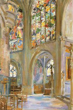 """""""Paris, the Interior of a Gothic Church St. Étienne"""" by Stanisław Wyspiański (Polish, 1869 - 1907)"""