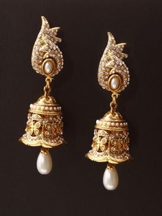 Golden Jhumki with Stone