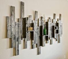 Great Abstract Wall Art and Shelf from Rustic Barn Wood – get boards from WW shed? Would be awesome! The post Abstract Wall Art and Shelf from Rustic Barn Wood – get boards from WW shed? Diy Wood Wall, Rustic Wood Walls, Wooden Wall Decor, Rustic Wall Decor, Wooden Walls, Rustic Furniture, Barn Wood, Rustic Barn, Wood Shelf