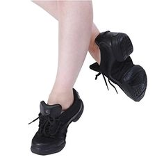 Adult Womens Cow Leather Dance Sneakers Mesh Cloth Black 435 >>> Want additional info? Click on the image.