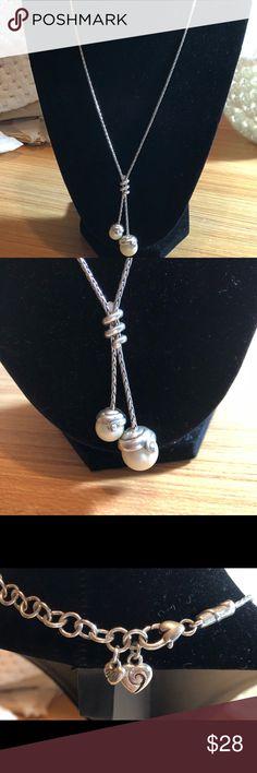 "Brighton 2 pearl pendant necklace Brighton 2 pearl pendant necklace on 9"" drop (18"") silvertone chain Brighton Jewelry Necklaces"