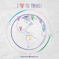 Sketchy mapa infográfico para viagens Vetor grátis
