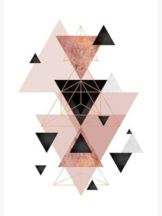 """""""Geometric Triangles in Blush and Rose Gold"""" Canvas Print by UrbanEpiphany Rose Gold Color Palette, Gold Color Palettes, Rose Gold Wallpaper, Home Wallpaper, Wallpaper Wallpapers, Toile D'or, Tapete Gold, Or Noir, Wall Art"""