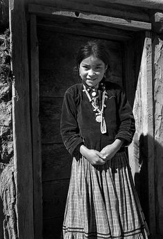 """Ansel Adams (1902-1984), """"Navajo Girl, Canyon de Chelly, Arizona"""" ~ The Mural Project 1941-1942 by U.S. Department of the Interior"""
