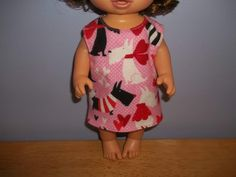 Baby 12 inch Alive doll handmade dress pink with dogs on it by sue18inchdollclothes on Etsy